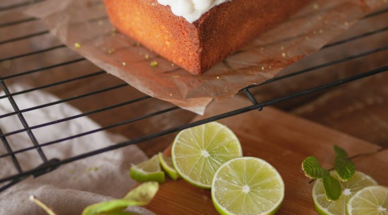 lime slices on top of a cake